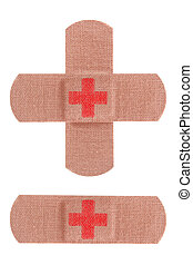 Red cross bandages - Bandaids or bandages with red cross...