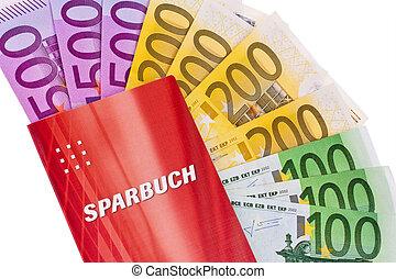 euro banknotes and savings account - many euro banknotes and...