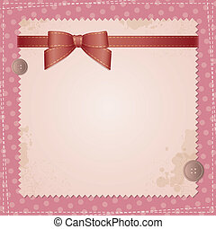 vintage background with bow and sewing buttons