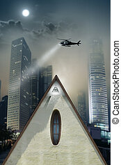 Searching the city - Concept photo of a pyramid shaped...