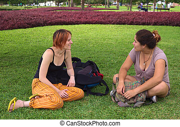 Two Women Talking in Park - Two young women (one Peruvian,...