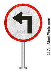 Traffic sign recycled paper - Turn Left traffic sign...
