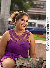 Young Peruvian Woman in Park