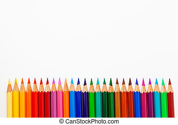 lots of colored pencils - many different colored crayons on...
