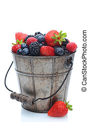 Fresh Berries in Pail - Assorted fresh picked berries in a...