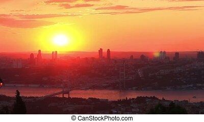 Istanbul City on Sunset. Timelapse. - Istanbul Bosporus...