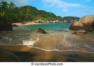 Caribbean Beach in Colombia - Beautiful Caribbean beach with...
