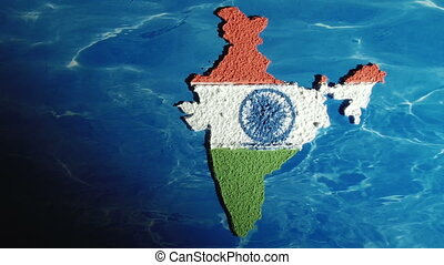 India map, zoom in - India map and flag, zoom in, artwork