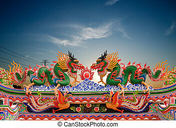 Dragons in chinese temple 
