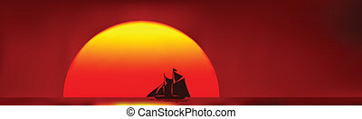 Going home - Beautiful old ship sailing home, silhouetted...