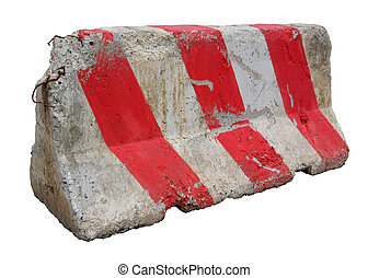 Red and white concrete barriers blocking the road Isolated...