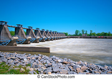 River Lock and Dam - Arkansas River Lock and dam controlling...