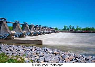 River Lock and Dam - Arkansas River Lock and dam controlling...
