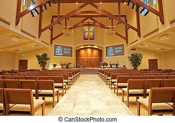 Modern Chapel - Modern Church Sanctuary waiting for...