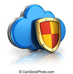 Cloud computing and storage security concept: blue glossy...