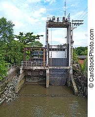 Floodgate near Chao Phraya river, Samut Prakarn,Thailand