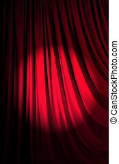 Brightly lit curtains in theatre concept