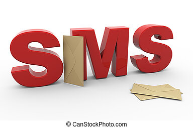 3d sms envelope - 3d render of word sms (short message...