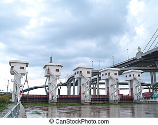 Floodgate with Bhumibol Bridge also casually call as...