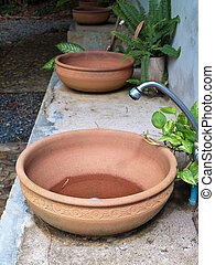 Washbasin - Pottery washbasin decorate with small fern and...