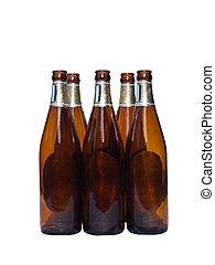 Beer bottles - Empty beer bottles isolated over white...