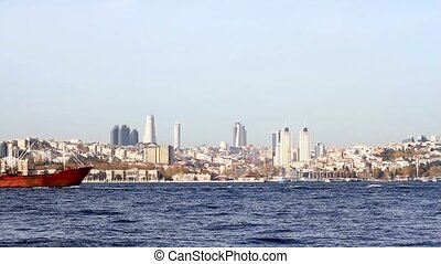 Cargo Ship - Bulk carrier ship sails along Bosporus Sea