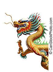 chino, estilo, dragón, estatua