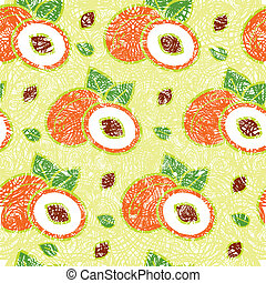 Pattern with peaches - Vector seamless grunge pattern with...
