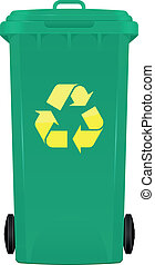 Wheeled bin - illustration of wheelie bin with symbol...