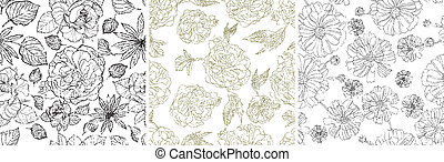 Seamless grunge floral patterns - Vector set of seamless...