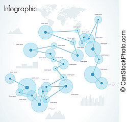 Network infographic vector. World Map and Information...