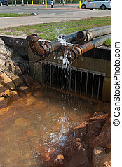 pumping water - pumping away groundwater into a ditch