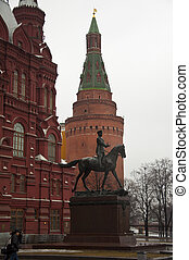 Monument Georgy Zhukov on Manege Square in Moscow, Russia....