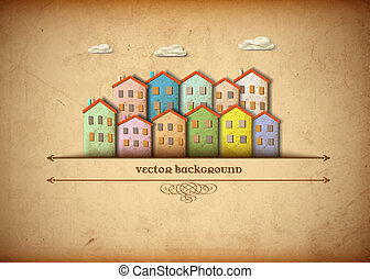 Little town made from old paper. Creative vector eps 10