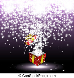 Red gift box with fireworks from lightsVector eps 10