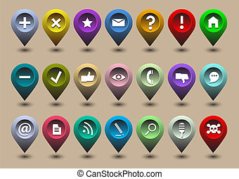 Collection different web icons