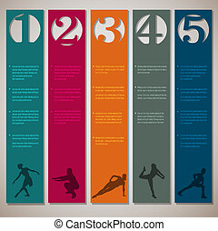 Vertical numbered lines with fitness silhouettes.Vector...