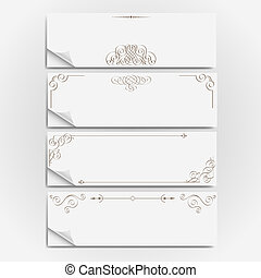 White paper banners with calligraphic elements. Vector set