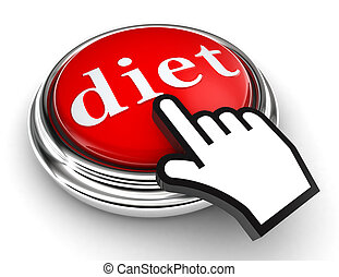 diet red button and pointer hand