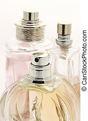 Female perfumes close-up - Close-up of three various female...