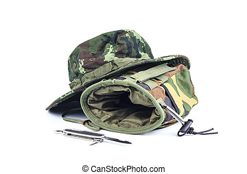 Pocket , knives, hat military style isolated on a white background.