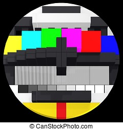 TV test card 3d front view - Abstract TV test card for...