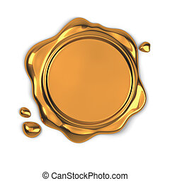 Golden wax seal - 3d render of golden wax seal isolated on...