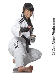 taekwondo, kvinna, kimono, vit, bakgrund