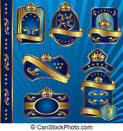 blue royal labeles blanck - set vector image of blue royal...