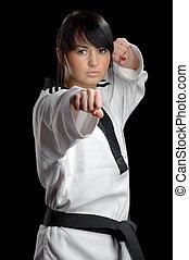 taekwondo, kvinna, kimono, svart, bakgrund