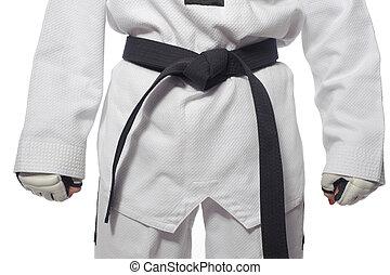 mujer, kimono, cinturón, guantes, marcial, artes