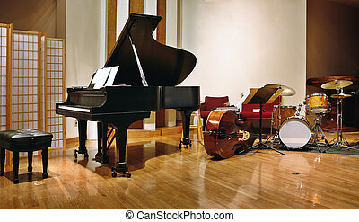 Jazz instruments on stage