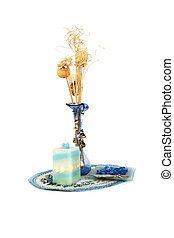 Blue flower vase, candle, table overlay - Blue vase with...