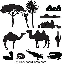 silhouettes of African desert - black silhouettes of the...